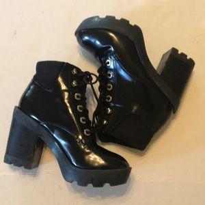 Aldo Grunge Patent Leather platform combat boots